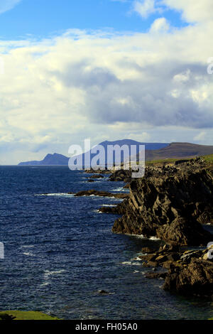 Atlantic Sea and Cliffs, Achill Island, Co. Mayo - Stock Photo