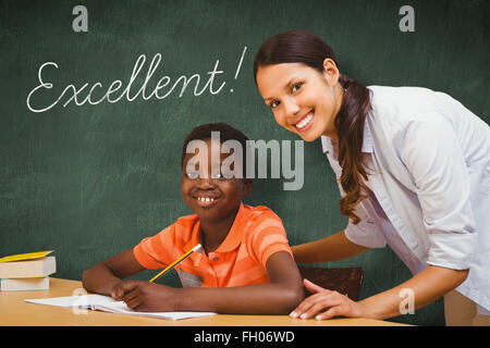 Excellent! against green chalkboard - Stock Photo