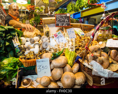 Fresh fruit and vegetables Mercado Atarazanas, spanish market Malaga city, Costa del Sol. Andalusia southern Spain - Stock Photo