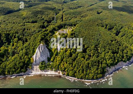 Aerial view, chalk cliffs, Jasmund National Park, Big Stubbenkammer Small Stubbenkammer, Königstuhl, observation - Stock Photo