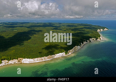 Aerial view, chalk cliffs, Jasmund National Park, Big Stubbenkammer Small Stubbenkammer, Königstuhl, observation - Stock Photo