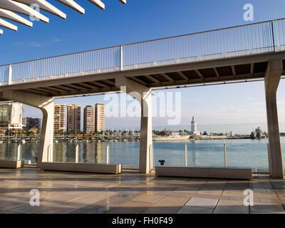 Muelle Uno seaside promenade port, Malaga city Costa del Sol. Andalusia southern Spain - Stock Photo