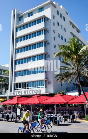 Miami Beach Florida Art Deco District Ocean Drive New Year's Day hotel hotels restaurant alfresco umbrellas Victor - Stock Photo