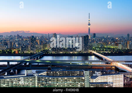 Tokyo; Japan -January 10; 2016: Tokyo Skyline at dusk, view of Asakusa district, Sumida River and Skytree. - Stock Photo