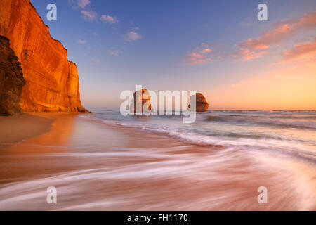 The Twelve Apostles along the Great Ocean Road, Victoria, Australia. Photographed at sunset. - Stock Photo