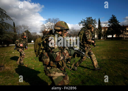 Members of the French Foreign Legion take part in a training assault on a airport. The 2nd Battlelion Foreign Legion, - Stock Photo