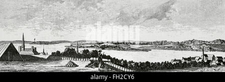 American Revolutionary War (1775-1783). The Siege of Boston (1775-1776) by the British Army. Engraving. - Stock Photo
