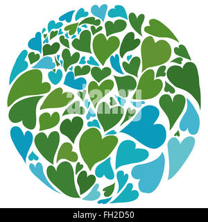 Planet earth made of hearts. Symbol of peace. Middle East in the center. - Stock Photo