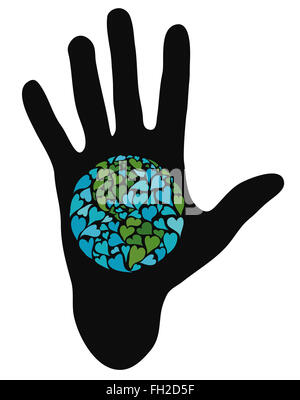 Hand showing planet earth made of hearts. Symbol of peace. America in the center. - Stock Photo
