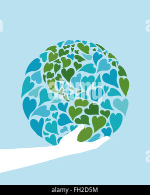 Hand holding planet earth made of hearts. Symbol of peace. America in the center. - Stock Photo