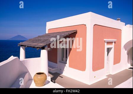 Panarea island, holiday house with view to vulcano island Stromboli,  Aeolian Islands, Sicily, Italy, Europe - Stock Photo