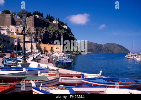 Lipari island, fishing boats in the harbour of Marina Corta ,  Aeolian Islands, Sicily, Italy, Europe - Stock Photo