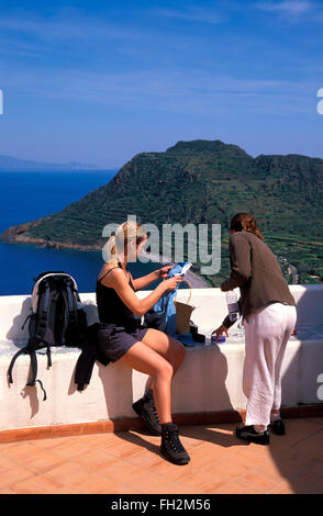 Filicudi island, hiking stop, Aeolian Islands, Sicily, Italy, Europe - Stock Photo