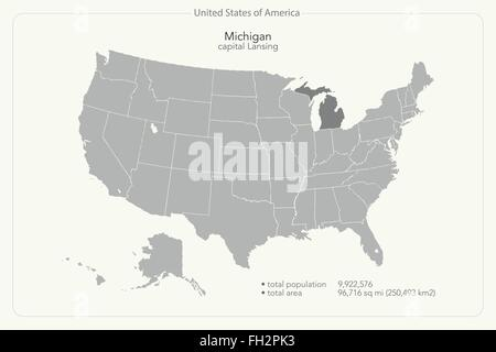 Michigan State Political Map Stock Photo Royalty Free Image - Michigan map united states