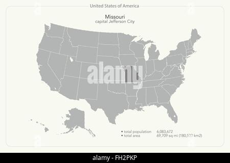 Political Map Of Missouri Stock Photo Royalty Free Image - Missouri state map usa