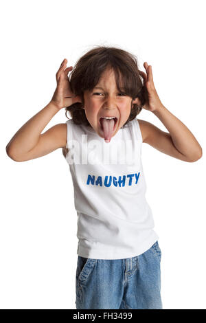 Naughty boy making faces on white background - Stock Photo