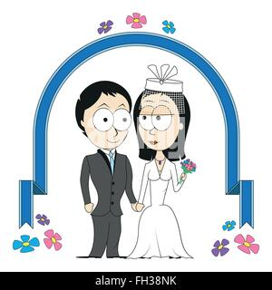 Bride and Groom under arch - Stock Photo