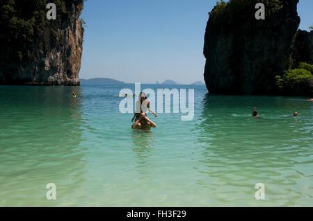 couple having fun in lagoon at Hong island. - Stock Photo