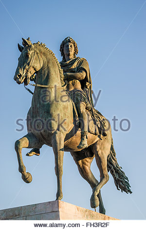 Equestrian statue of Louis XIV on Place Bellecour in Lyon (France) - Stock Photo