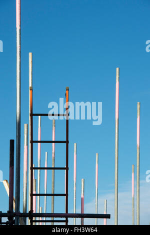 Scaffolding ladders and blue sky abstract - Stock Photo