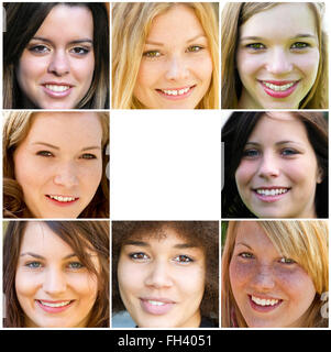 Smiling young adult woman - Stock Photo