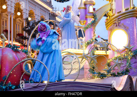 Disney parade at Christmas Paris Marne La Vallée France - Stock Photo