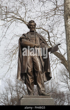 Statue of Abraham Lincoln by Henry Kirke Brown, originally dedicated October 21, 1869 sits in Prospect Park, Brooklyn, - Stock Photo