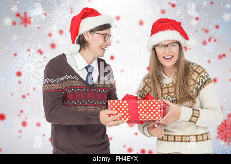Composite image of geeky hipster couple holding present - Stock Photo
