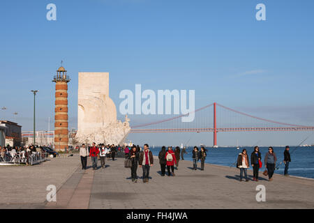 Portugal, city of Lisbon, Belem Lighthouse and Monument to the Discoveries (Padrao dos Descobrimentos), promenade - Stock Photo