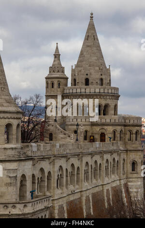 Close-up of some of the beautiful architecture on Fisherman's Bastion, Budapest. - Stock Photo