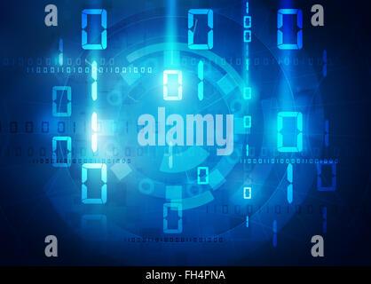 binary data blue background - Stock Photo