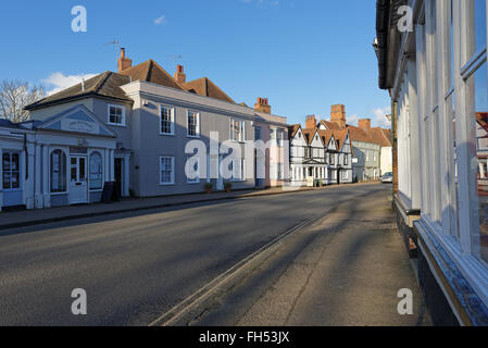 The picturesque High Street in Dedham, Essex,UK which is in the heart of the Dedham Vale. The area was made famous - Stock Photo