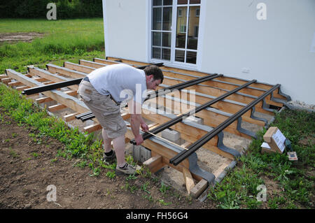 Building a wooden deck - Stock Photo
