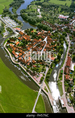 Aerial view, old town of Hitzacker with Jeetzel and Old Jeetzel, Elbe, Elbe, Hochwaaserschutzbauten, lock, Hitzacker - Stock Photo