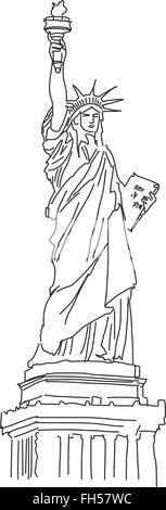 Statue of Liberty, vector illustration, hand drawn Outline Scribble - Stock Photo