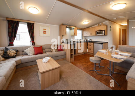 Interior Of A Static Caravan Showing Living Room Kitchen And Dining Areas