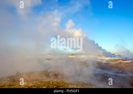Gunnuhver geothermal area winter steam vents from boiling hot springs  Reykjanes Peninsula Iceland - Stock Photo