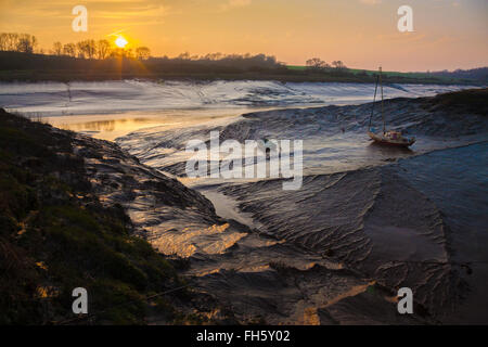 Sunset and low tide over the river Avon at Sea MIlls near Bristol UK Site of the Roman port of Abona - Stock Photo