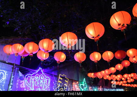 Chinese red paper lanterns in Taiwan - Stock Photo
