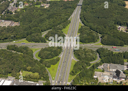 Aerial view, motorway intersection A43 and A2 motorway junction Recklinghausen, highway History A43 between Hochlar - Stock Photo
