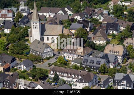 Aerial view, half-timbered house, Hirschberg with St. Christopher's Church in Hirschberg, Warstein, Sauerland, Warstein, - Stock Photo