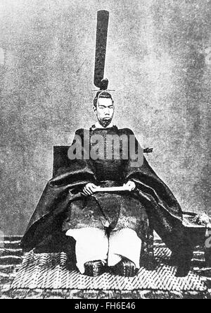 Portrait of Emperor Meiji ( November 3, 1852 – July 30, 1912 ) in Japanese traditional cloth 1872. - Stock Photo