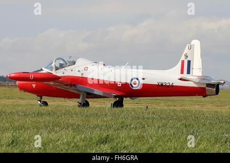XW324 (G-BWSG), a privately owned BAC Jet Provost T5, waits for clearance before displaying at the RAF Leuchars - Stock Photo