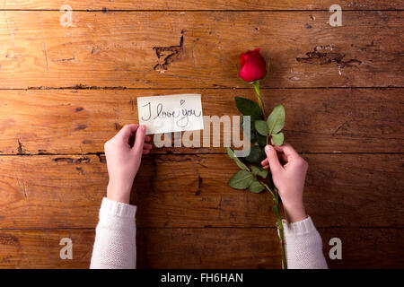 Woman's hands holding red rose and a notice 'I Love You' - Stock Photo