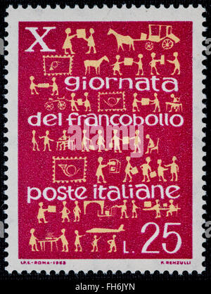 1969 - Italian mint stamp issued to commemorate the Italian Stamp Day Lire 25 - Stock Photo