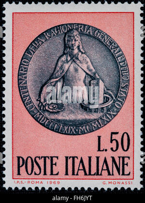 1969 - Italian mint stamp issued to commemorative. Lire 50 - Stock Photo