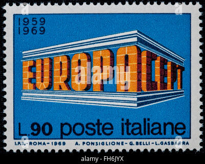 1969 - Italian mint stamp issued to commemorate the Europe Lire 90 - Stock Photo