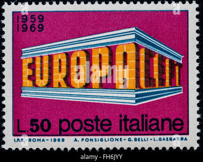 1969 - Italian mint stamp issued to commemorate the Europe Lire 50 - Stock Photo