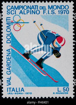 1969 - Italian mint stamp issued to commemorate World ski championship Lire 50 - Stock Photo