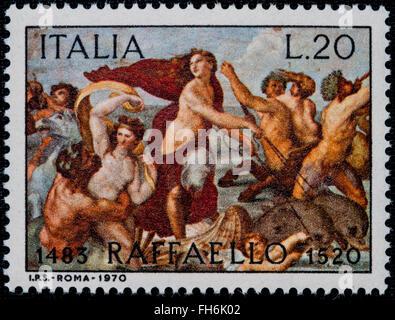 1969 - Italian mint stamp issued to commemorate Raffaello Lire 20 - Stock Photo
